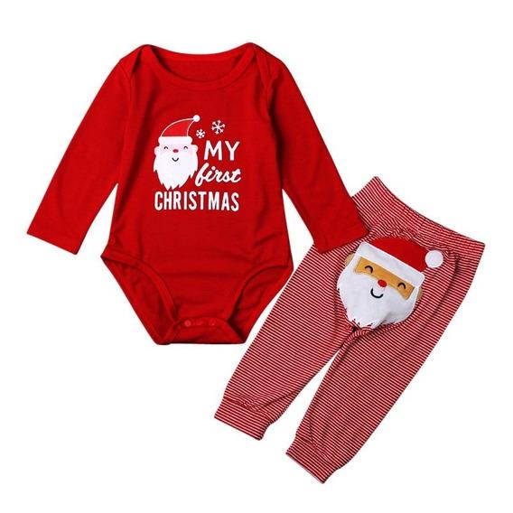 Conjunto Dos Piezas Niño Niña Bebé Santa Claus Navidad