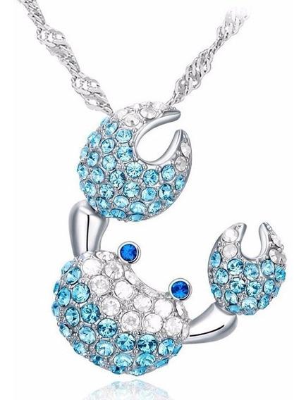Colar Em Prata 925 Pingente Siri Caranguejo Zircônias Azul