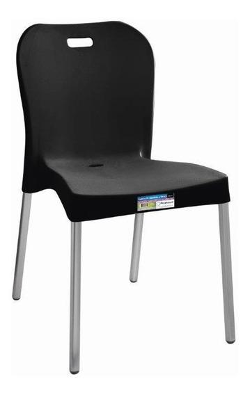 Kit 16 Cadeiras Plasticas Polip. Pé Alumínio Paramount Preta