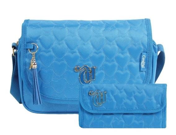 Kit Bolsa Transversal Capricho Love Azul 10967 + Carteira
