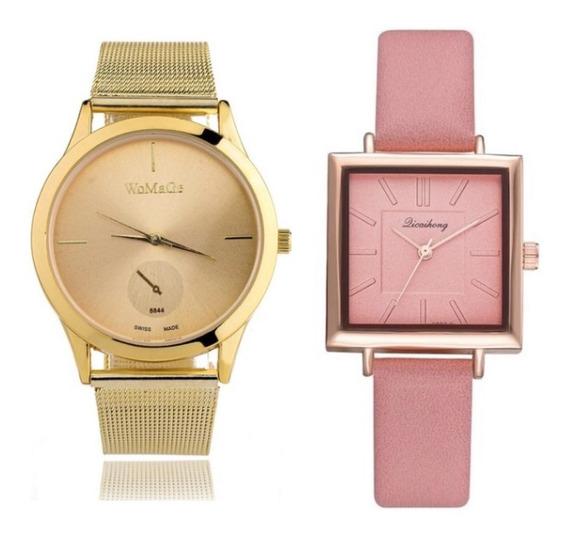 Kit 2 Relógios Feminino Dourado E Rosa