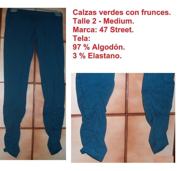 Calzas Verdes Con Frunces. Talle 2/medium. Marca 47 Street.