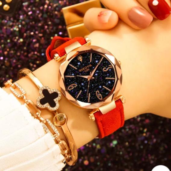 Relógios Feminino Céu Estrelado Lindo+caixa+bracelete
