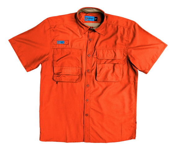 Camisas Ke Manga Corta Naranja Caballeros #cc05-2844