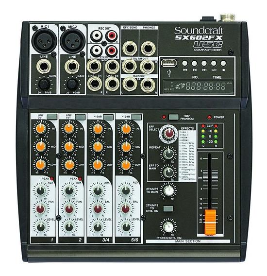 Mixer Analógico Soundcraft Sx602fx 6 Canais Preto