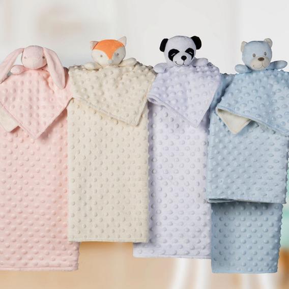 Manta E Naninha Fleece Dupla Face Coelha Panda Urso Enxoval