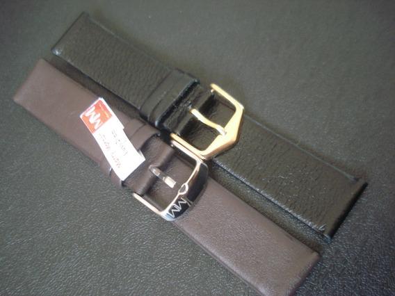 Pulseira Couro 20 Mm Relógio Luxo Legítimo Sem Costura Marro
