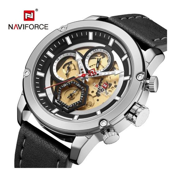 Relógio Masculino Luxo Naviforce Correia De Couro Original