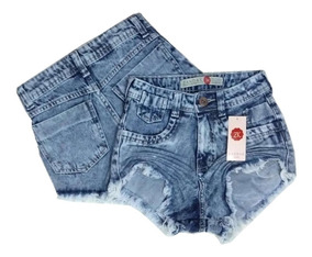 Kit 3 Shorts Jeans Feminino Atacado Cintura Alta Hot Pant