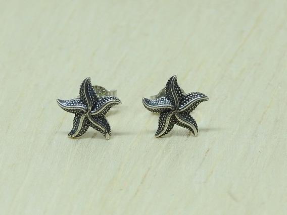 Brinco Feminino Em Prata 925 Par 2º Furo Estrela Do Mar