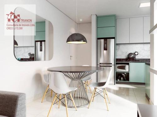 Apartamento Com 49 M² - 2 Dormitórios, 1 Vaga - À Venda Por R$ 255.000 - Vila Junqueira - Santo André/sp - Ap3182