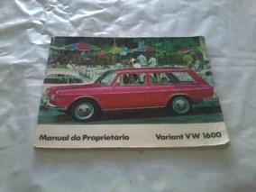 Manual Do Proprietario Variant 1600 Ano 1969