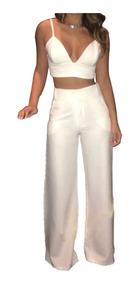 Conjunto Calça Flare Pantalona E Cropped Curto Decote #cj25