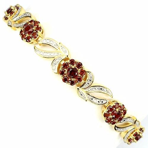 Tw Pulseira Pedras Granada Diamante Prata Ouro