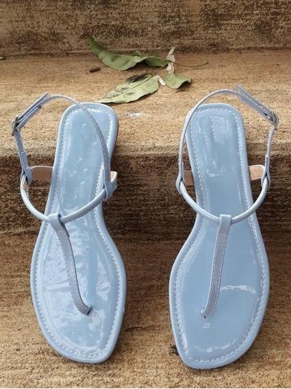Sandalia Azul Bebe Rasteira Flat Rasteirinha Lisa Basica Azu