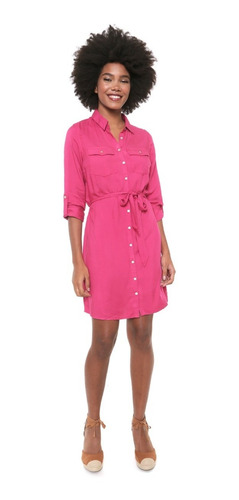 Vestido Chemise Hering Curto Reto Rosa