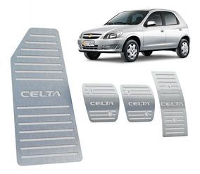 Kit Pedaleira + Descanso Chevrolet Celta Manual Aço Inox