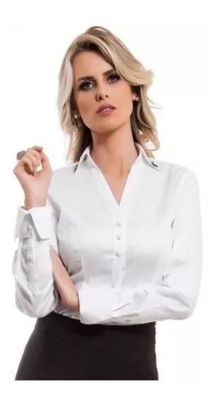 Camisete Camisa Feminina Manga Longa Social Slim Blogueiras