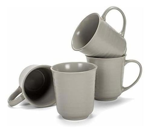 Juego De 4 Tazas De Café Con Acabado De Esmalte Gris Mate, 1