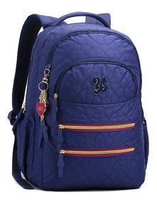 Mochila Feminina Lançamento 13868 Com Chaveiro Azul Royal