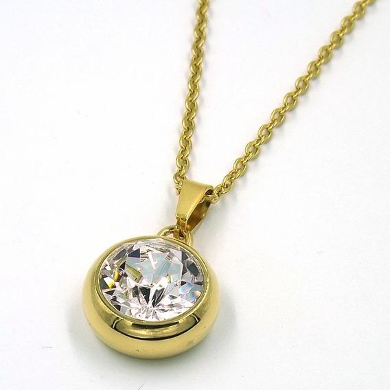 Collar De Acero Dorado Medallon Gran Swarovski Claro Eg