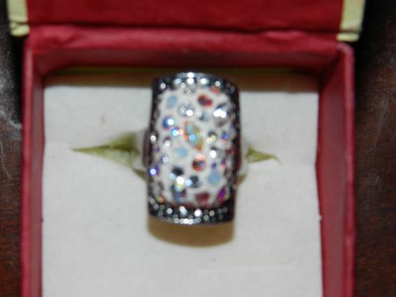 Anillos Y Pulseras Plata Cristal Swarovski, Anillos Bellísimos, Azul, Blancos Y Multicolores, Hecho A Mano