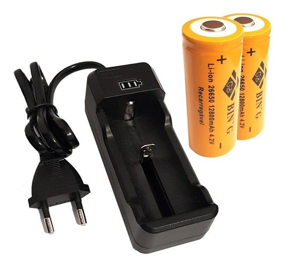 Kit Carregador + 2 Bateria 26650 12800mah P/ Lanterna X900