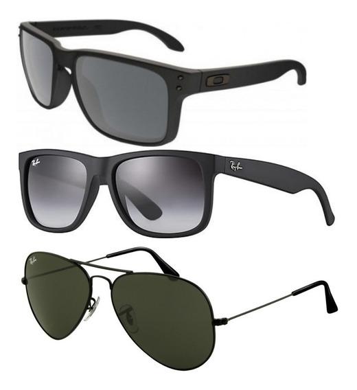 Kit 3 Óculos De Sol Unissex Preto Polarizad Cristal Promoção