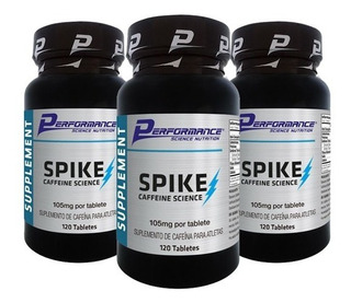 Kit 03 Potes Spike Caffeine Science 120 Tabletes - Performance