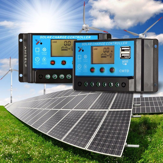 Controlador De Carga Solar Pwm 10a Com Amperimetro