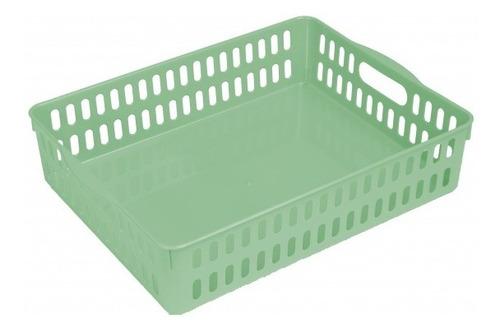 Kit 05 Cestinhas Multiuso Plástico 33x26x8 Verde Elloplas