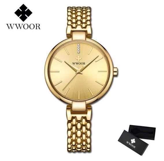 Relógio Feminino Dourado Analógico Wwoor Promoção Das Mães