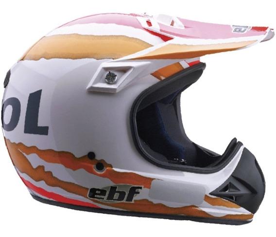 Capacete Moto Six Repsol Ebf Cross 60 Antielergico Branco