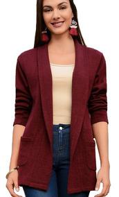 Cardigan Sweater Largo Dama Mujer Abrigo Moda Casual Inviern