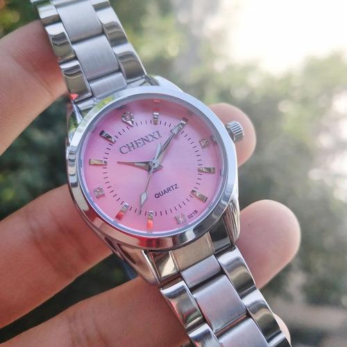 Relógio Feminino Prata Fundo Rosa Chenxi Prova D'água Barato