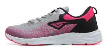 Tênis Feminino Cinza Pink Volt Bouts Esportivo Leve