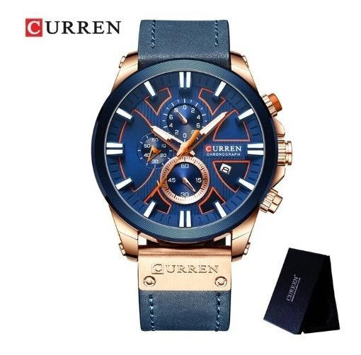 Relógio Masculino Curren Original Azul E Rose