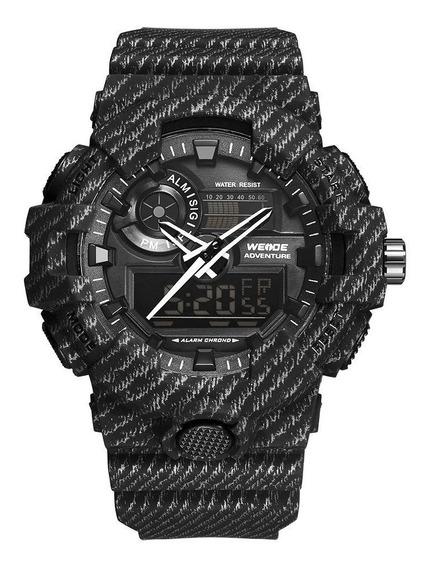 Relógio Masculino Weide Anadigi Wa3j8007 - Preto Rajado