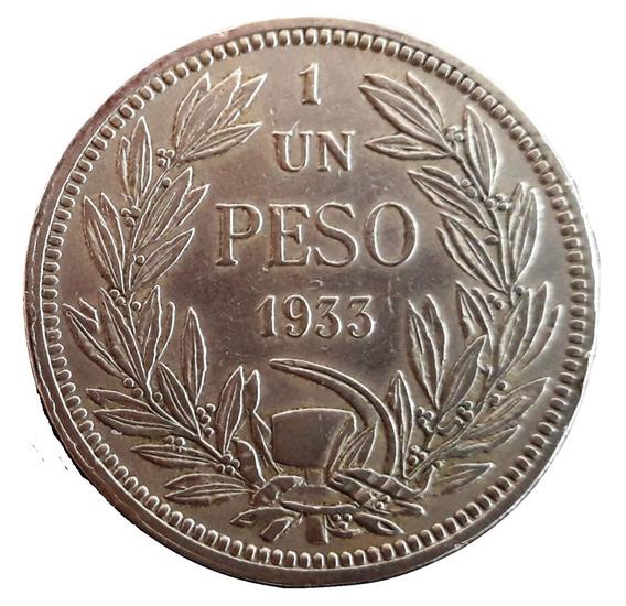Chile Moneda Del Año 1933 - 1 Peso - Muy Buen Estado+