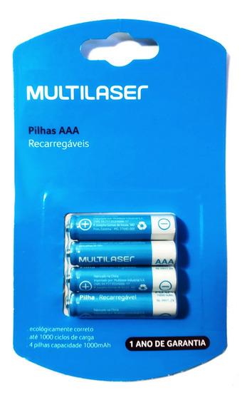 Pilhas Recarregáveis Aaa Multilaser 1000mah Pack 4un - Cb050