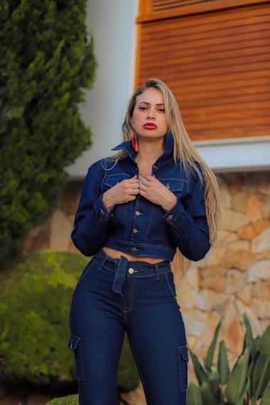 Conjunto Calca E Jaqueta Jeans Laicra Feminino 38 A 44