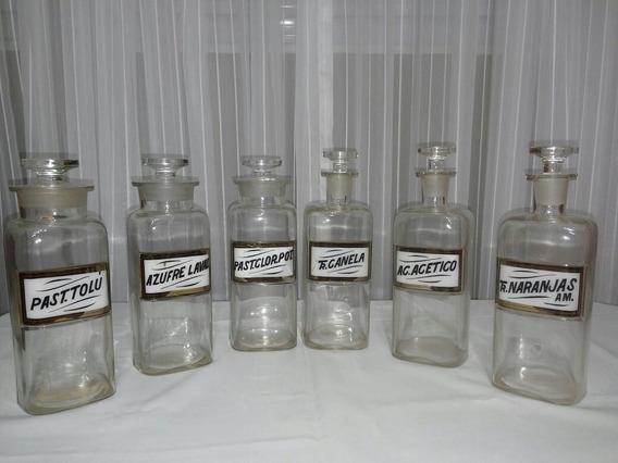 Frasco De Farmacia Antiguo (lote X 6 ) - Made In Usa - 1889