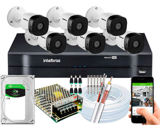 Kit Cftv 6 Câmeras Intelbras Vhd 1220b Full Hd 1080p 20m 2mp