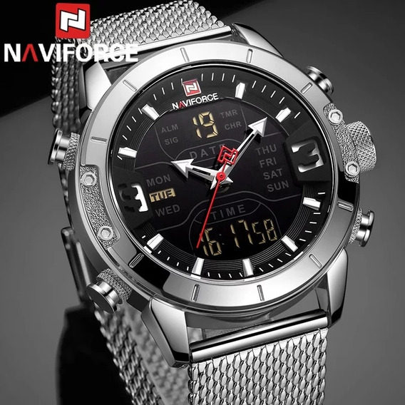 Relógio Naviforce 9153 Original Malha De Aço Inoxidável
