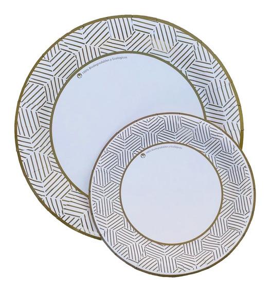 Platos Desechables Cartón Biodegradable Dorado 100ch+100gde