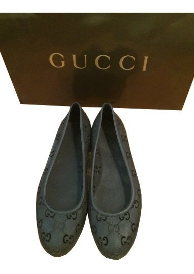 Hermosos Flats Gucci Jelly Signature Negros 100% Originales!