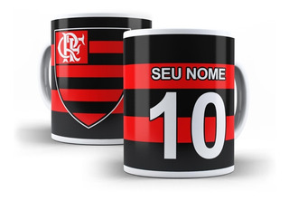 Caneca Personalizada Time Futebol Flamengo Camisa 10 Nome