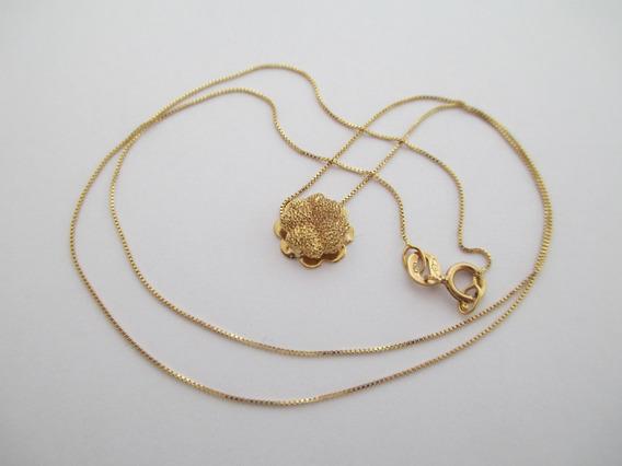 Colar Com Flor - Ouro 18k - 1.34 Gr - Frete Grátis
