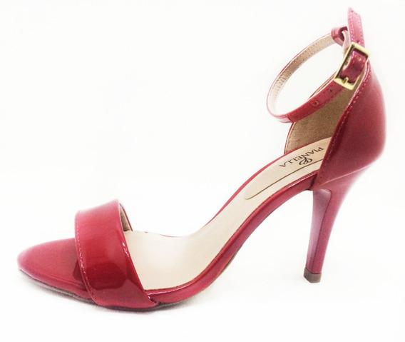 Sandália Salto Fino Vermelha Verniz
