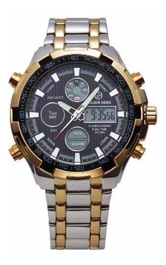Relógio Masculino Luxuoso Goldenhour